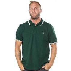0c5c51da4 FRED PERRY SLIM FIT TWIN TIPPED POLO SHIRT IVY GREEN PORC Mens Fred Perry