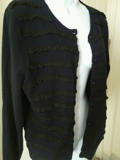 J.Crew Women's Navy Blue Ruffled Cardigan Sweater XLarge Button Wool Cashmere XL in Clothing, Shoes & Accessories, Women's Clothing, Sweaters | eBay