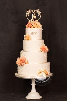 Boho Stil, Peach Colors, Wedding Cakes, Lace, Desserts, Handmade, Food, Single Flowers, Real Flowers