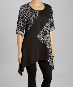 Love this Gray & Black Abstract Sidetail Tunic - Plus by Come N See on #zulily! #zulilyfinds