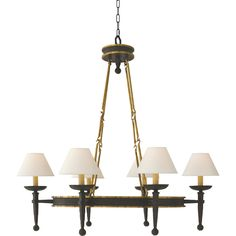 Chart House from Visual Comfort designed by Sandy Chapman Oval Ring Torch Chandelier in Weathered Iron with Gold Accents CHC1414WI