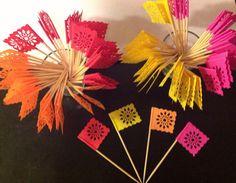 25 Tiny Banderitas  Papel Picado Designed Flag by CalaveraPress ... would make cute cupcake toppers too!