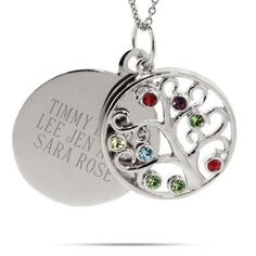 Circle 8 Birthstone Family Tree Necklace in sterling silver! The circle family tree necklace is customized with 8 stones. Engravable circle charm dangles in the back! Moon Necklace, Name Necklace, Perfect Gift For Mom, Gifts For Mom, Unique Necklaces, Beautiful Necklaces, Necklace With Kids Names, Family Tree Necklace, Dainty Diamond Necklace