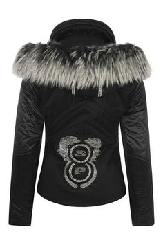 SPORTALM Ski Fashion | Contour black designer fitted womens ski jacket with fur trim