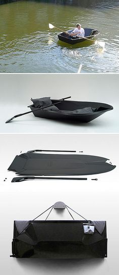 90 repins!  Foldboat, by Max Frommeld and Arno Mathies, is a rowing boat made from a standard sized sheet of plastic.