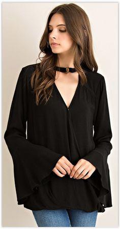 Black or Olive Bell Sleeved Top
