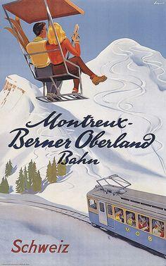 Montreux-Berner Oberland-Bahn - 1938 by Ernst Otto Ski Vintage, Vintage Ski Posters, Train Posters, Railway Posters, Ski Decor, Old Advertisements, Advertising, Retro Illustration, Skiing