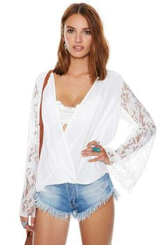Nasty Gal Lace Up Blouse