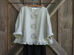 linen top Romance flare design in natural with by linenclothing, $119.00