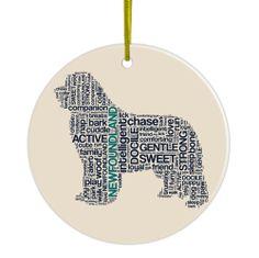 Newfoundland Hand Printed Ceramic Christmas Holiday Dog Ornament $10.75 at DogLoverStore.com