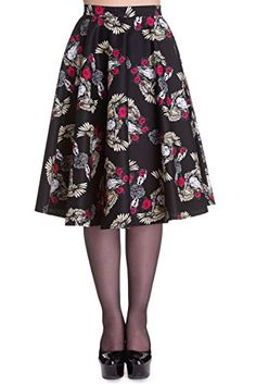 Special Offer: $24.99 amazon.com Vintage style, full circle skirt from Hell Bunny with print of roses, bull skulls and wings. Fastens with a button and zip at the centre back. Available in XS (US 4) to 4XL (US 18-20). Please disregard the size chart link next to the dropdown menu, as this...