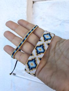 Miyuki Beaded Special Designed Bracelet, Bracelet for women, unique gift beaded miyuki bracelet Miyuki beaded bracelet designed by ZDA. Very chic and stylish bracelet for women. I used only high quality japanese miyuki beads. The golden parts are made wit Art Deco Jewelry, Beaded Jewelry, Fine Jewelry, Women Jewelry, Jewelry Making, Beaded Bracelets, Silver Jewelry, Embroidery Bracelets, Jewelry Crafts