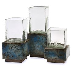 IMAX Cubo Hurricane Candle Holder - Set of 3 - 20126-3