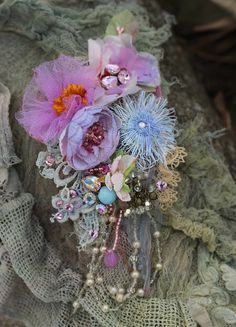 Delicate spring brooch - bold ornate brooch , antique lace, embroidered and beaded brooch, mixed media by FleursBoheme on Etsy https://www.etsy.com/au/listing/588798768/delicate-spring-brooch-bold-ornate
