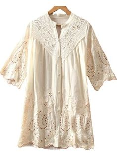 Light Yellow Puff Sleeve Embroidery Hollow Loose Blouse
