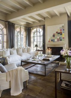 Room incorporating the cream and grey tones that would pull in the goldfen tones of the green oak beams.