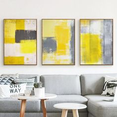 Abstract Paint Yellow Gray and White Canvas Painting Art Print Poster Picture Wall Painting Bedroom Home Wall Decor Living Room Decoration gray and yellow living room decorating ideas Living Room Paint, Living Room Decor, Grey And Yellow Living Room, Bedroom Yellow, Grey Yellow, Black White, Gray Bedroom, Bedroom Wall, Bedroom Decor
