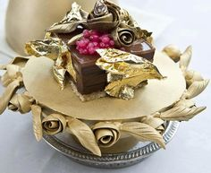 This chocolate pudding laced with gold leaves, champagne caviar and 2-karat…