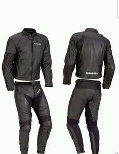 Kawasaki Two Pieces Racing Black Leather Suit Motorcycle Leather, Biker Leather, Leather Men, Black Leather, Leather Jacket, Kawasaki Motorcycles, Racing Motorcycles, Bike Suit, Motorbike Leathers