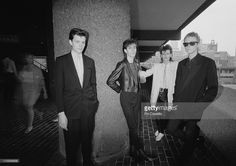 Bauhaus posed together at the Barbican Centre in London in June 1982. Left To Right: Kevin Haskins, Peter Murphy, Daniel Ash, David J.