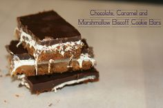Caramel, Marshmallow and Chocolate Biscoff Cookie Bars