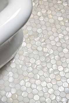 Mother of Pearl Hex Tile - Traditional - bathroom - Artistic Tile Ideas Baños, Tile Ideas, Reno Ideas, Hexagon Tiles, Hex Tile, Subway Tile, Tiling, Mosaic Tiles, Penny Tile