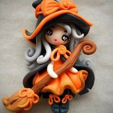 Cute Halloween witch x Polymer Clay Kunst, Polymer Clay Figures, Polymer Clay Dolls, Polymer Clay Projects, Polymer Clay Charms, Polymer Clay Creations, Clay Crafts, Polymer Clay Halloween, Polymer Clay Ornaments
