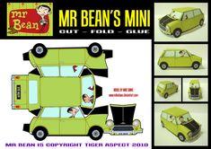 Een eenvoudige bouwplaat van de Mini van Mr. Bean, gemaakt door Mike Daws ( Download de bouwplaat van de Mini van Mr. Bean hier.