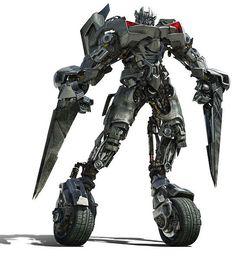 Sideswepi es uno de los modelos nuevos que vimos en #Transformers 2 Sobre sus dos ruedas se abre paso para enfrentar a los #decepticons y en lugar de cañones en sus manos empuña cuchillas retráctiles de gran tamaño y filo, junto con un arma adicional en la espalda.