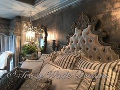 Modern Masters Metallic Plaster, Pewter Foil And Metallic Paint Black Pearl  On Walls, By