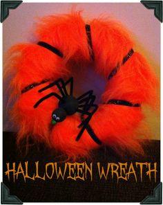 Orange Fur and Glittery Ribbon Halloween Wreath Rustic Halloween, Halloween Candles, Creepy Halloween, Holidays Halloween, Halloween Kids, Halloween Crafts, Halloween Decorations, Halloween Wreaths, Happy Halloween