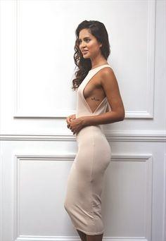 Womens Ladies Cut Out Side Boob Beige  Midi Bodycon Dress