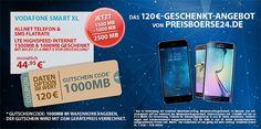 2,5GB LTE Vodafone Smart XL + TOP Smartphone + 120€ Gutschein http://www.simdealz.de/vodafone/vodafone-smart-xl-aktion-mit-gutschein-und-smartphone/