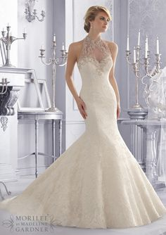 bridal gown from Mori Lee by Madeline Gardner Dress Style 2675 Crystal Beaded Embroidery on an Allover Alencon Lace Bridal Gown