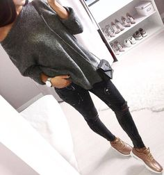 #cute #outfits Grey Off Shoulder Knit // Black Ripped Jeans // Nude Sneakers
