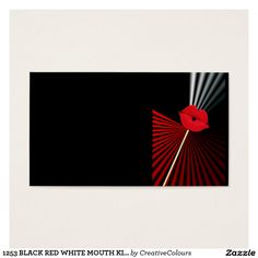 1253 BLACK RED WHITE MOUTH KISS LIPS GRAPHIC BACKG BUSINESS CARD