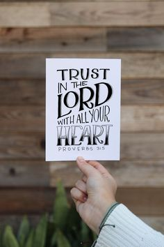 """""""Trust in the Lord with all your heart"""" Proverbs 3:5 - Handlettered Bible Verse Scripture Art Print by MiniPress on Etsy"""