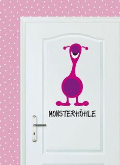 Kleine Monster brauchen eine Höhle, in der gespielt, gelacht & gekuschelt wird!    Wandtattoo für Wand, Tür oder Möbelstück.    Das Wandtattoo *Monste