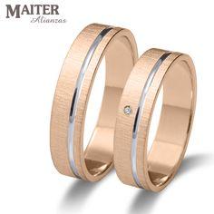 #Alianza #boda oro rosa linea oro blanco #Maiter 45mm plana brillante 0.015cts www.joyasmaiter.com