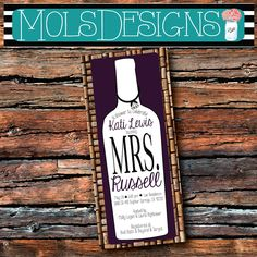 Any Color WINE BOTTLE SHOWER Black and White by MolsDesigns