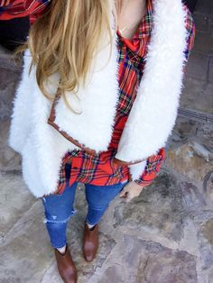 Winter fashion, shearling vest and flannel via TexasFashionSpot.com