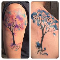 #coupletattoo #treetattoo #watercolor Living Art Gallery San Clemente, CA