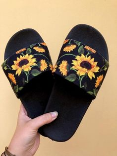 p i n t e r e s t : ✰ casey elizabeth ✰ Sunflower Accessories, Sneakers Fashion, Fashion Shoes, Cute Slippers, Fashion Slippers, Bridal Sandals, Fresh Shoes, Melissa Shoes, Hand Painted Shoes