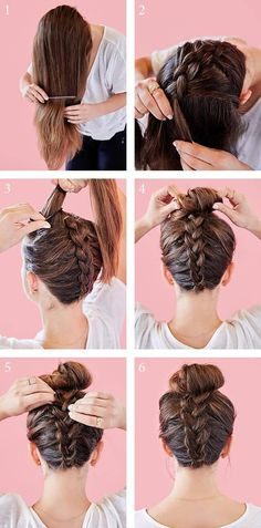 Elegant French-braided top knot