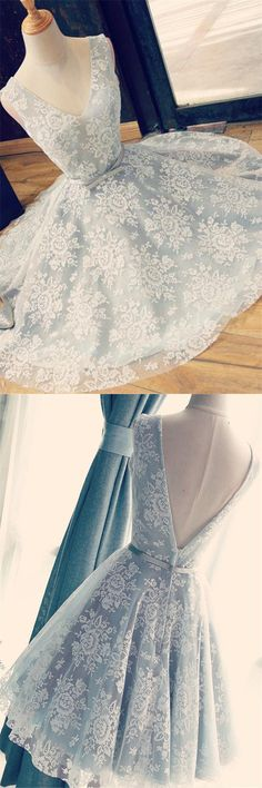 light blue short v-back homecoming dresses, cheap fashion dresses, chic a-line party dresses with lace