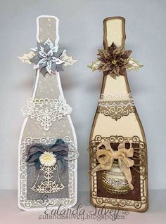 Good day my crafty friends!! Today I'm sharing a pair of Christmas bottles I've created using the Dutch Doobadoo Champagne card art templa...