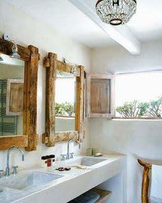 Love the rustic mirrors in a modern bathroom Rustic Mirrors, Rustic Frames, Framed Mirrors, Wood Mirror, Wood Frames, Mirror Mirror, Decorative Mirrors, Mirror Ideas, Mirror Framing