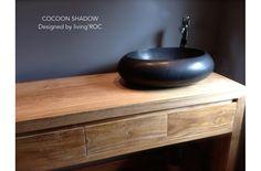 """19"""" Oval Black Granite Stone Bathroom Vessel Sink - COCOON SHADOW"""