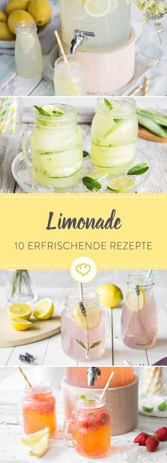 Hausgemachte Limonaden liegen voll im Trend. Bei diesen 10 Re… Great soda-love! Homemade lemonades are very trendy. These 10 recipes have something for every occasion, from the garden party to the wedding. Drink Summer, Best Lemonade, Homemade Lemonade Recipes, Watermelon Lemonade, Apple Smoothies, Non Alcoholic Drinks, Refreshing Drinks, Clean Eating Snacks, Cocktail Recipes