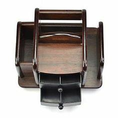 Wood Rotating Desktop Organizer Sorter Storage Holder Office Desk w 2 Drawers | eBay